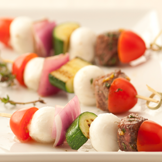 Small Image of Grilled Beef Skewers with Fresh Mozzarella