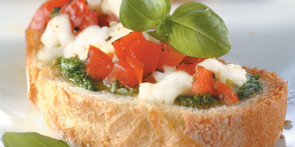 Large Image of Bruschetta with Fresh Mozzarella and Pesto