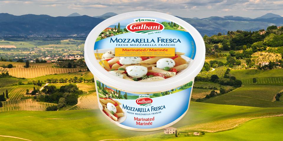 Large Image of Galbani Marinated Mozzarella Balls on the Italian Countryside