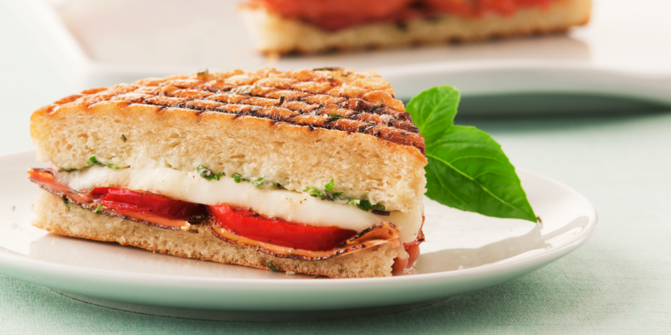Large Image of Panini with Prosciutto and Fresh Mozzarella