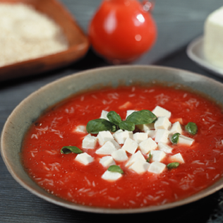 Small Image of Tomato Soup with Fresh Mozarella