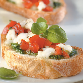 Small Image of Bruschetta with Fresh Mozzarella and Pesto